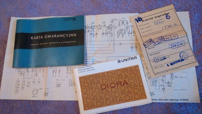 Schemat,instr.,karta gwar.wyrobu Radia Unitra Diora Junior,PRL,zamian