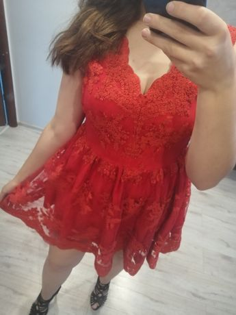 Sukienka czerwona EMO koronka