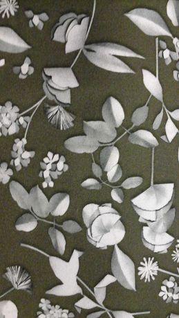 Tkanina kupon oliwka w popielate kwiaty