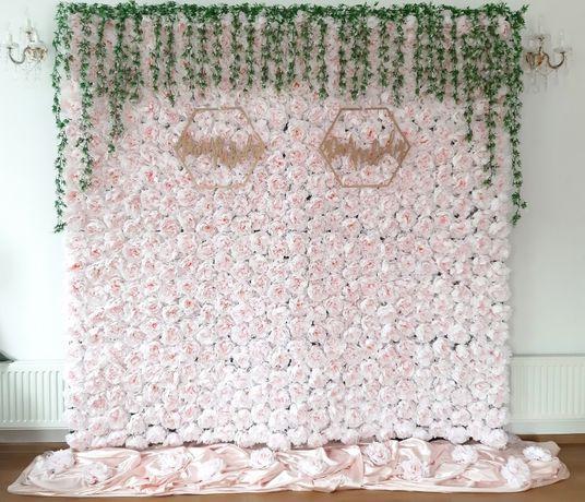 Ścianka weselna ślubna kwiatowa BACKDROP Tło za Państwem Młodym Ekran