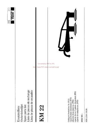 Katalog części kosiarka Deutz fahr KM 22