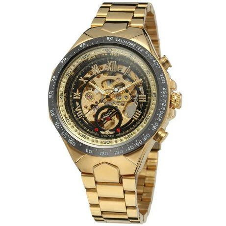 Новые мужские механиче часы с автоподзаводом Winner 8067 Gold