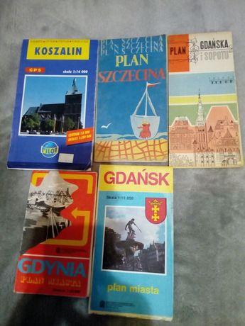 Plan miasta Koszalin, Szczecina, Gdańska I Sopotu, Gdańska, Gdyni