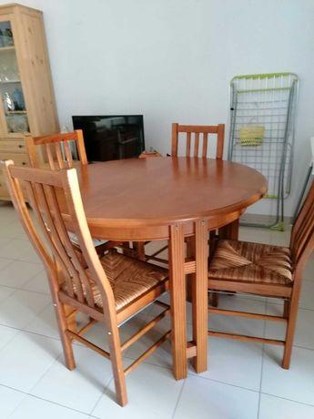 Mesa Redonda Extensível + 4x Cadeiras com Palhinha (Madeira Maciça)