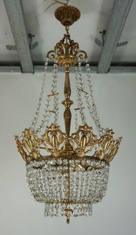 Piękny stylowy żyrandol z kryształami Francja