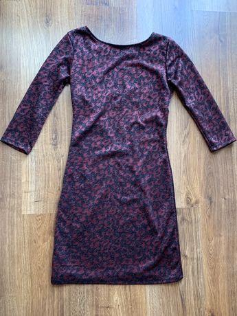 Sukienka Zara brokatowa elegancka tył wykrojon S Dopasowana elastyczna