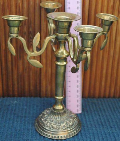 Антикварний підсвічник канделябр на 5 свічок бронз