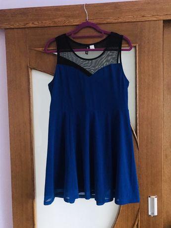 Sukienka H&M niebieska granatowa z siateczką L
