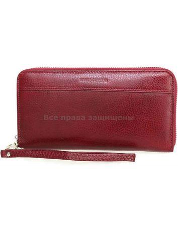 Женский бордовый кожаный кошелёк клатч портмоне на молнии Marco Covern