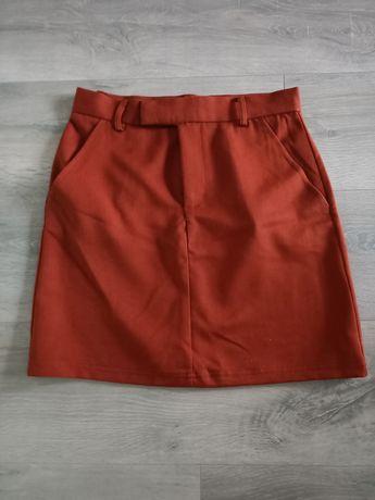 Bordowa spódniczka materiałowa, sklep Sinsay