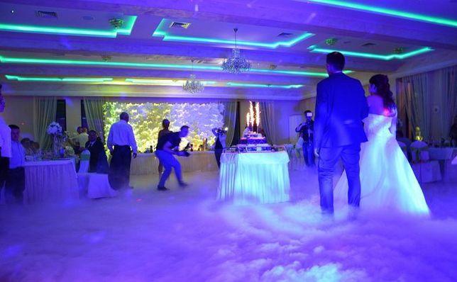 Ciezki dym pierwszy taniec w chmurach wytwornica dymu co2 na wesele