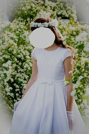 Sukienka do komuni delikatna + dodatki+bolerko rozm. 148-152 +buty 35r