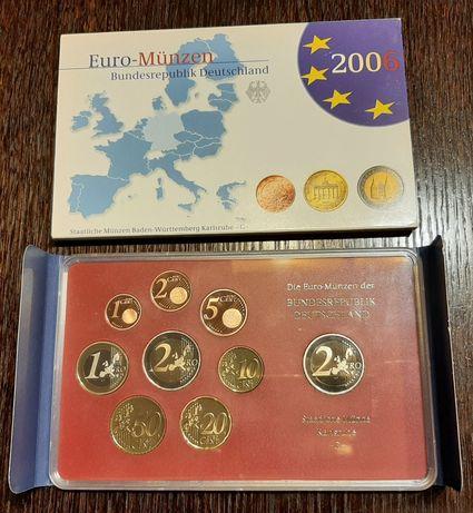 Zestaw monet z mennicy Karlsruhe + 2 euro Schleswig Holstein- 2006 rok