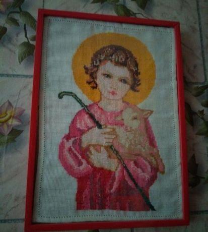 Маленький Иисус с ягненком на руках . Иисус Картина вышитая крестиком