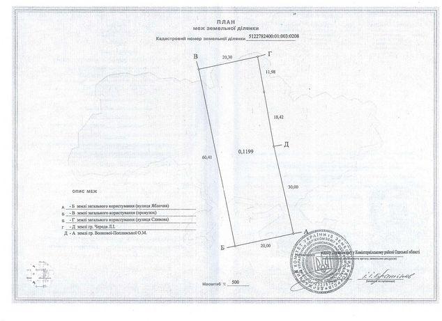Продам участок 12 соток, с. Кордон, Лиманский (Коминтерновский) район