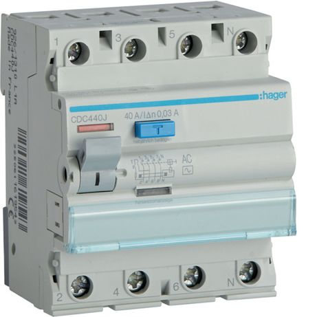 Wyłącznik różnicowo-prądowy Hager 40A 30mA 4P CDC440J, F-vat Promocja