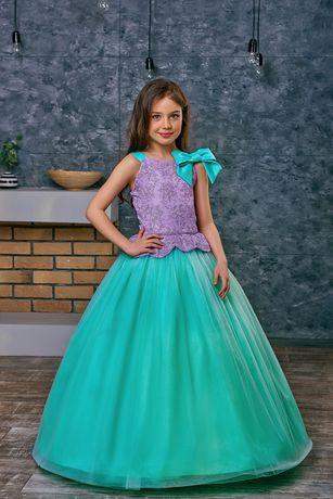 Нарядные детские платья, сиреневое бирюзовое платье на выпускной в сад