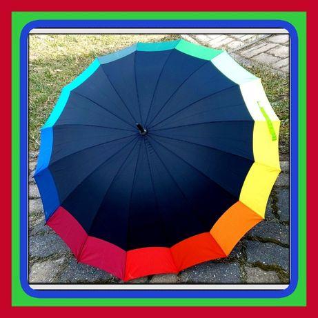 Czarne Parasol Deszczowy Półautomatyczne Laski z Wygiętą Rączką