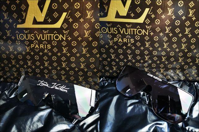 Okulary Louis Vuitton srebrne złote logowane hit lato przyciemniane