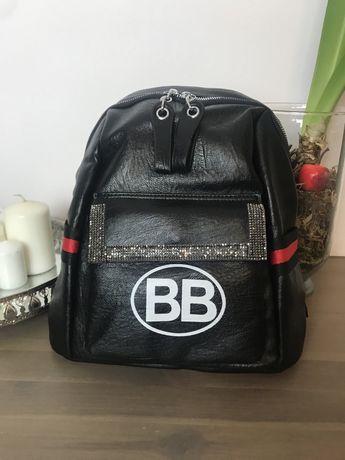 Plecak BB czarny skorzany.