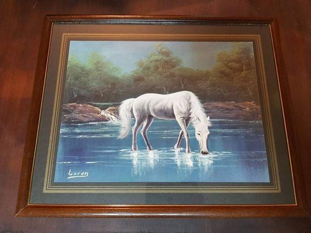 Quadro em Madeira 35x65cm - Cavalo Branco