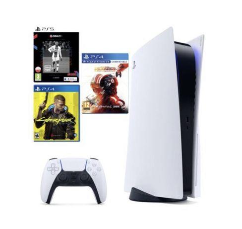Konsola SONY PlayStation 5 + Cyberpunk 2077 + Fifa 21 + Star Wars PS5