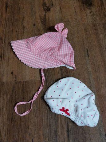 2 czapeczki dla dziewczynki 12-18 mcy