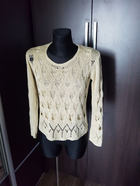 Sweterek , sweter pleciony z dziurami, Ecru / Kremowy, S / M