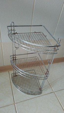 Полка угловая для ванной 3-ярусная 46*20*20 см бу.