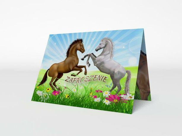 Zaproszenie okolicznościowe urodzinowe Konie koperta gratis