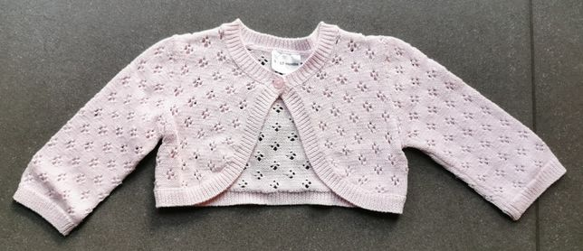 Bolerko, rozpinany sweterek, pudrowy róż, rozmiar 80