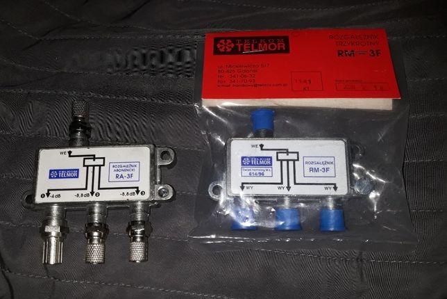 2x rozgałęźnik sygnału RA-3F nowy bez opak. + RM-3F nowy zafoliowany.