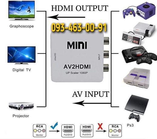 Конвертер AV RCA to HDMI тюльпан, адаптер видео с аудио 1080P
