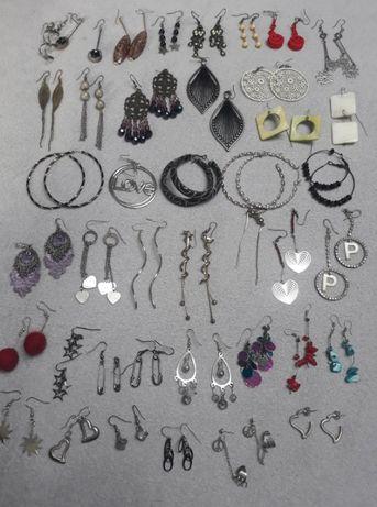 Biżuteria kolczyki damskie koła srebrne turkusowe śrubki długie