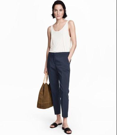 Темно-синие брюки-слаксы, дудочки, укороченные брюки от H&M