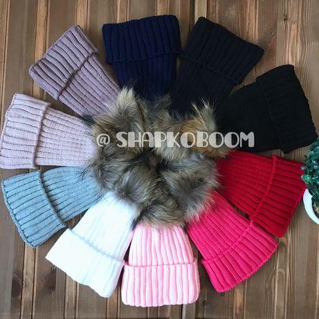 Зимняя шапка на флисе с натуральным бубоном энота для девочек