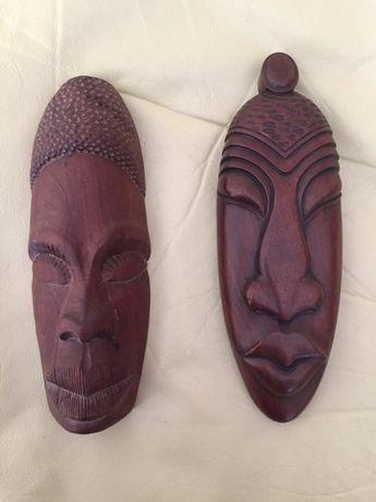 Настенная маска из красного дерева, ручной работы. Привезена с Кубы.