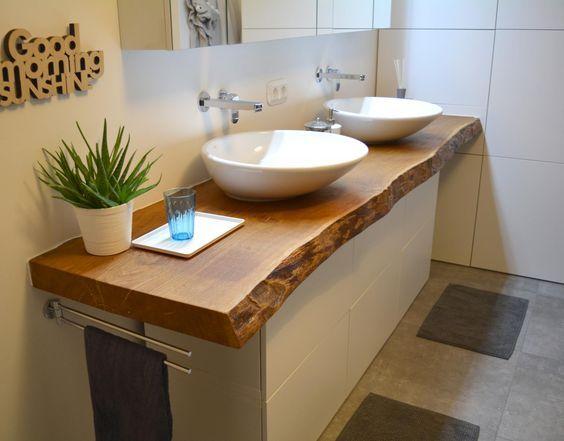 Blat łazienkowy 140 cm z litego drewna