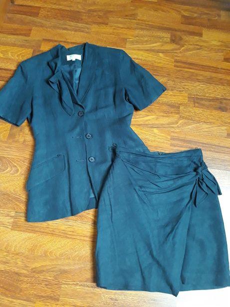 Zestaw garsonka komplet żakiet marynarka spódnica lato krótki rękaw 36