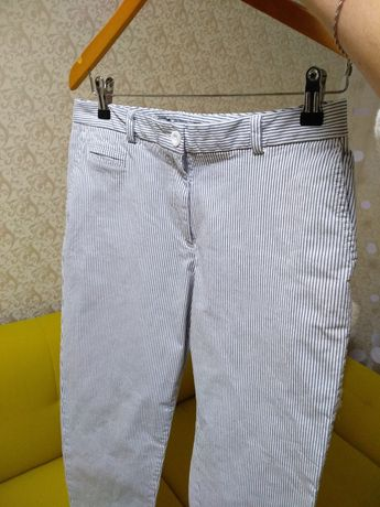 Плотные брюки штаны джинсы в полоску Marks &Spencer р. 38 котон