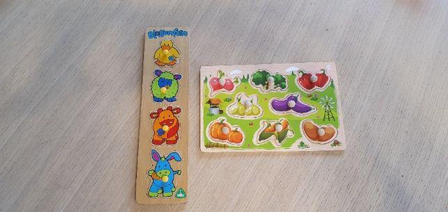 Zestaw dwóch drewnianych kolorowych układanek puzzle