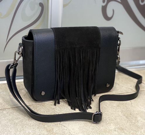 Сумка кожаная черная сумка шкіряна чорна Італійська сумка