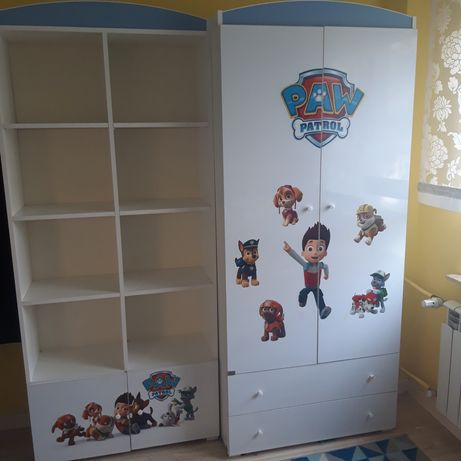 Komplet mebli dziecięcych Psi Patrol, łóżko 160x80, komoda,szafa,regal