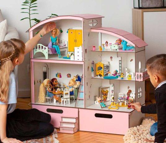 2 в 1 кукольный домик лол омг барби деревянный набор мебель свет omg