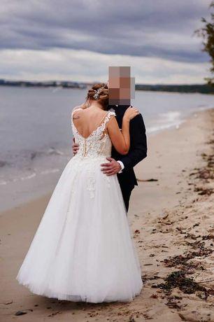 Suknia Ślubna w literę A, stan BDB! Dekolt w V / IVORY