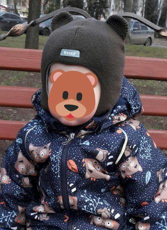 """Зимняя шапка-шлем Beezy из шерсти мериноса """"Мишка"""", с ушками."""