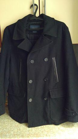 Мужское зимнее кашемировое пальто с утеплителем ZARA MEN, бушлат.