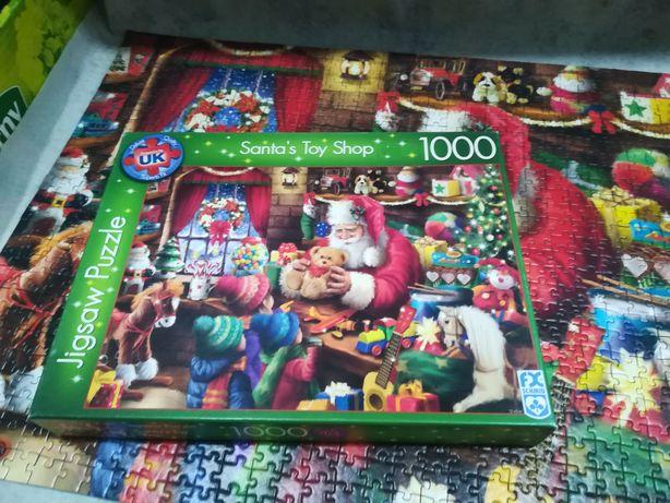 Świąteczne puzzle 1000 elementów, Santa's Toy Shop