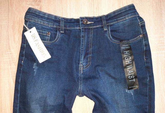 XL 42 44 NOWE z metką Spodnie Jeansy z dziurami niebieskie Wysoki stan