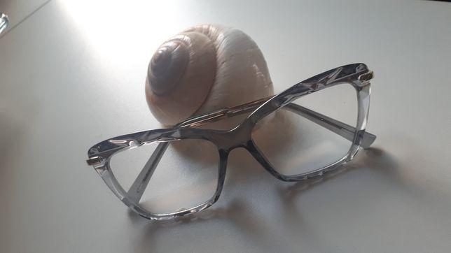 Okulary O, zerówki, szare, oprawki